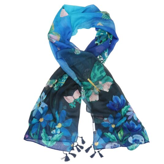 Papillon Blue Butterfly Scarf