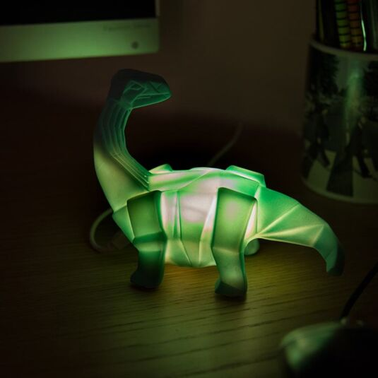 Small LED Green Dinosaur Origami Light