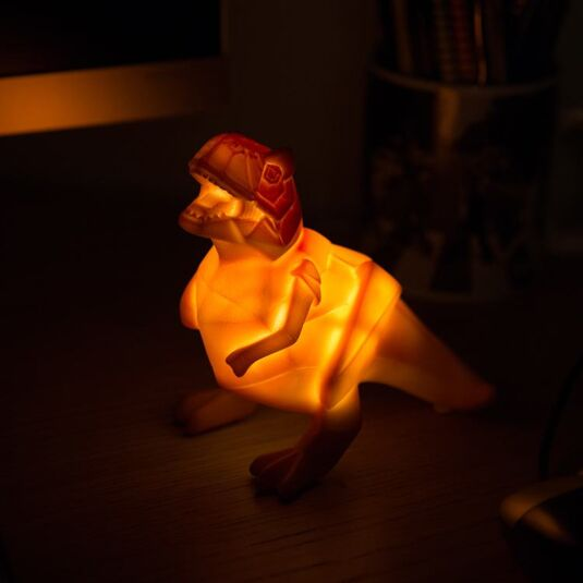 Small LED Orange Dinosaur Origami Light