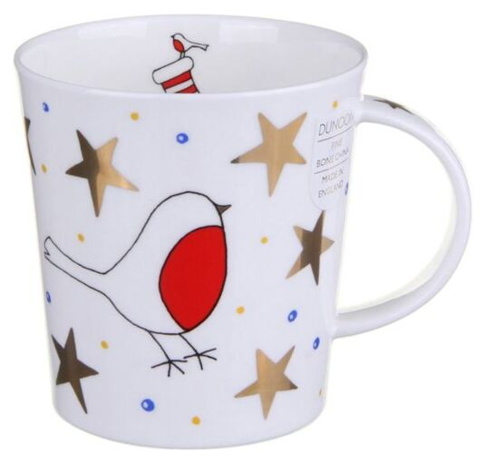White Christmas Robin Lomond shape Mug
