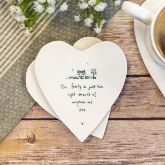 'Our Family' Heart Shaped Coaster