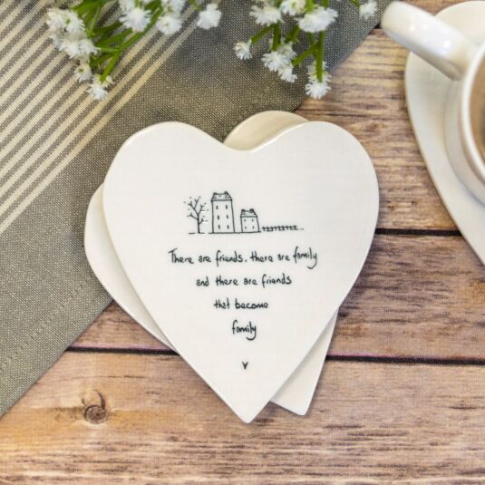 'Friends Become Family' Heart Shaped Coaster