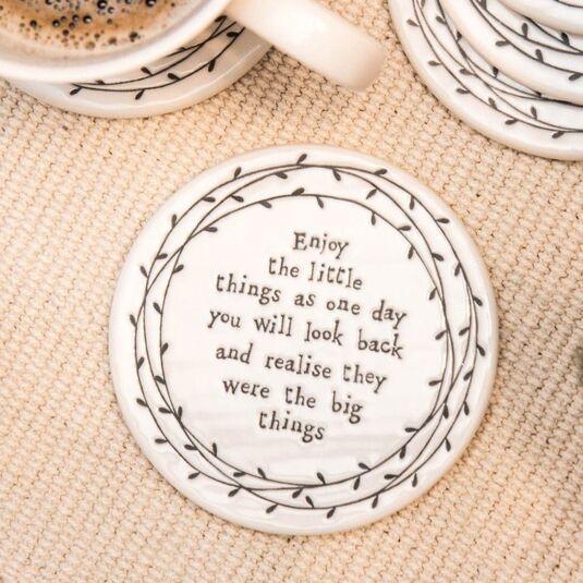 Enjoy the Little Things Porcelain Leaf Coaster