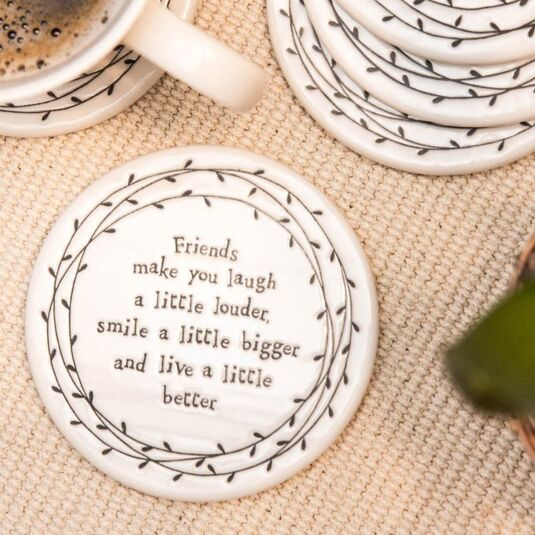 Friends Make You Laugh Louder Porcelain Leaf Coaster