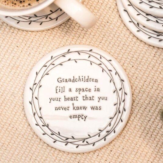 Grandchildren Fill a Space in Your Heart… Porcelain Leaf Coaster