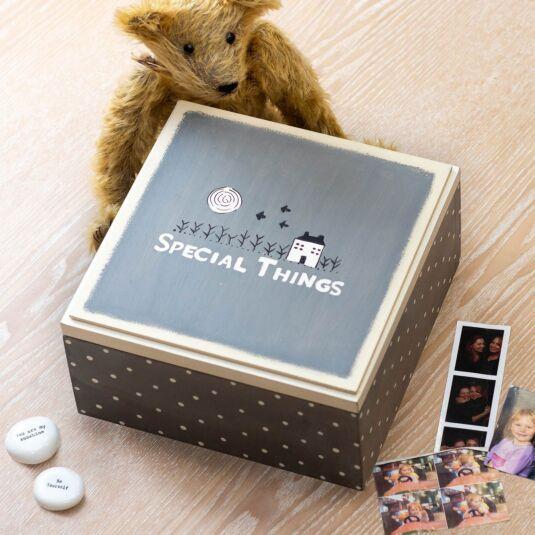 East Of India Grey Special Things Keepsake Box