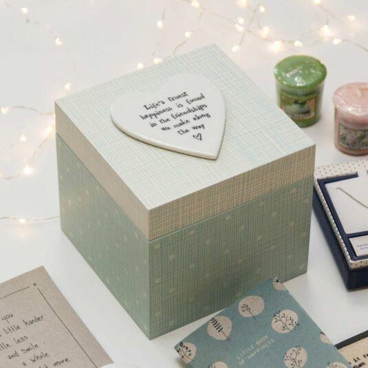'Life's Truest Happiness' Green Wooden Box