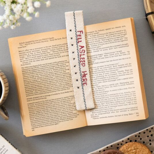 'Fell Asleep Here' Fabric Bookmark