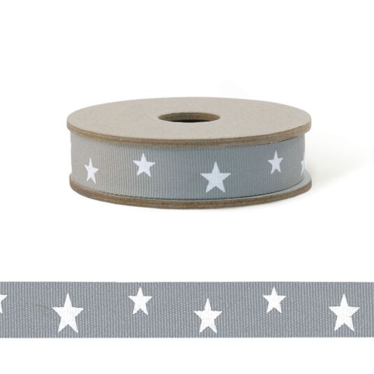 'Grey Stars' 3m Geometric Ribbon