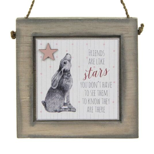 Hare Friends Are Like Stars Wooden Plaque