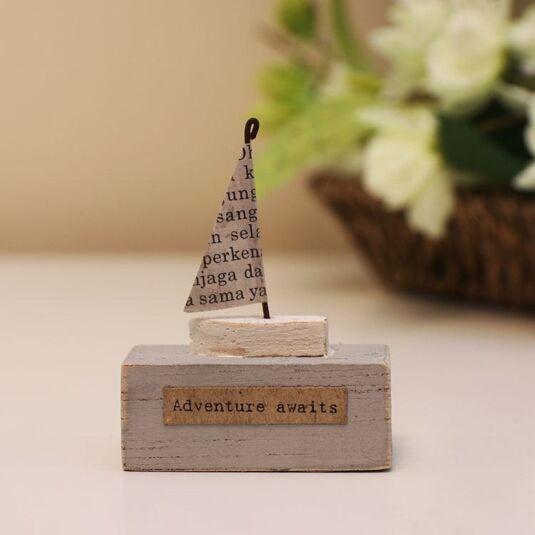 'Adventure Awaits' Small Boat Wooden Scene