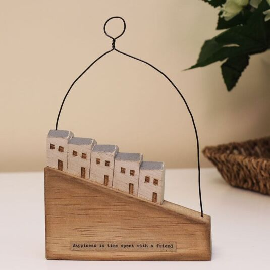 'Happiness Is' Hill Houses Wooden Scene