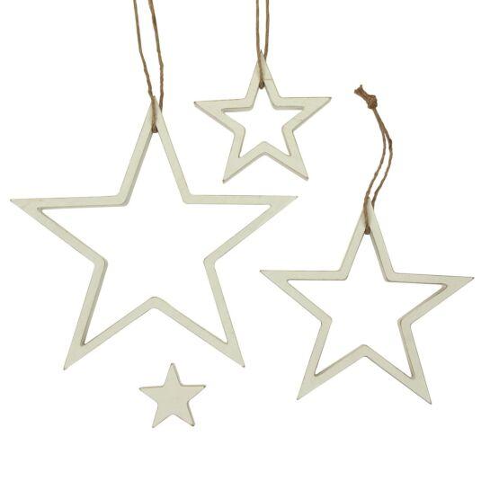 White Hanging Outline Star Set