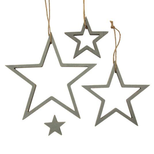 Grey Hanging Outline Star Set