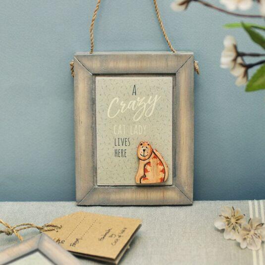 'Crazy cat lady' Wooden Plaque