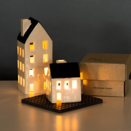 Boxed Small Porcelain House Tealight Cover