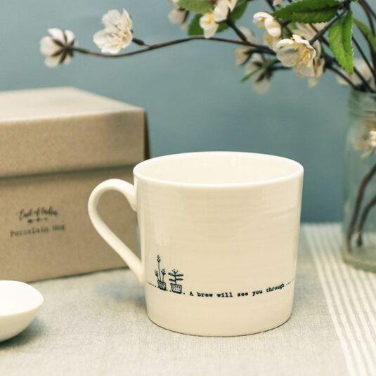 'A Brew' Wobbly Porcelain Boxed Mug