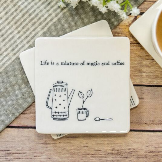 'Magic and Coffee' Square Coaster