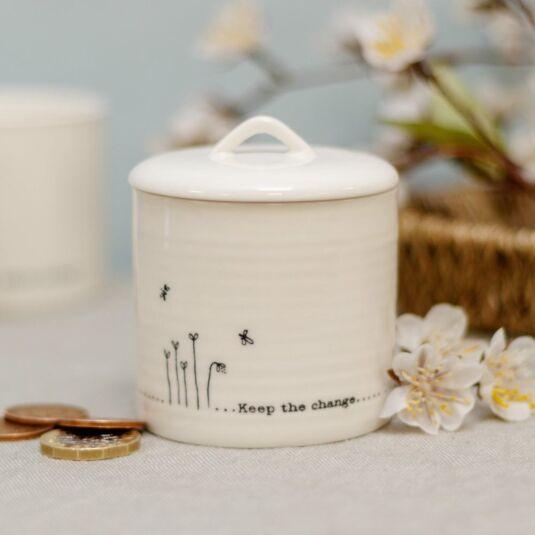 'Keep the change' Lidded Porcelain Pot