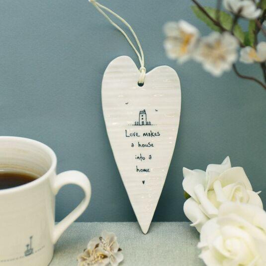 'Love Makes A House' Long Porcelain Heart