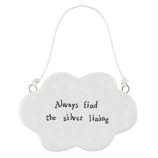 'Silver Lining' Porcelain Hanging Cloud