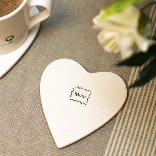 Mum Heart-Shaped Porcelain Coaster