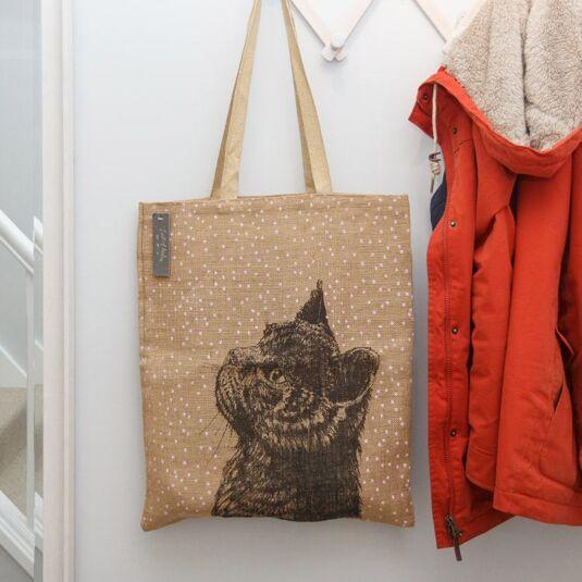 Cat Jute Shopping Bag