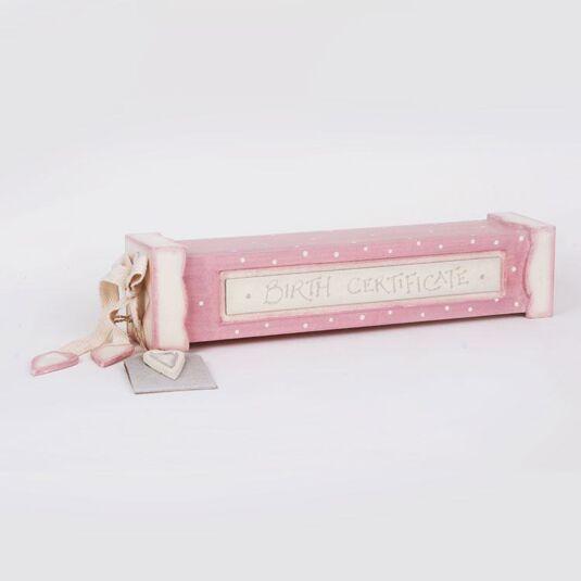 Pink Birth Certificate Holder