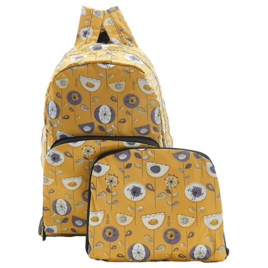 Eco Chic Mustard 1950's Flower Foldaway Backpack