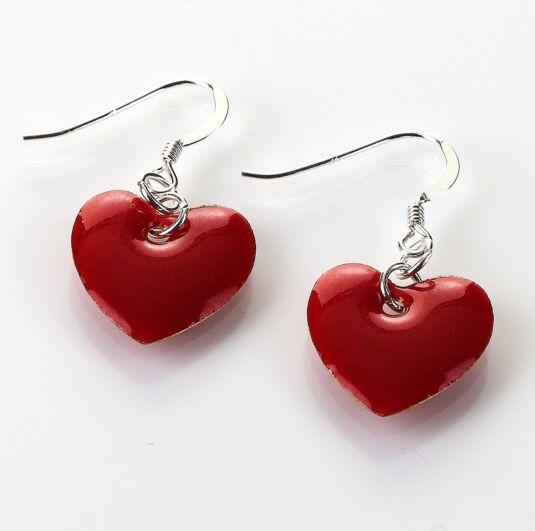 Red Enamel Heart Earrings