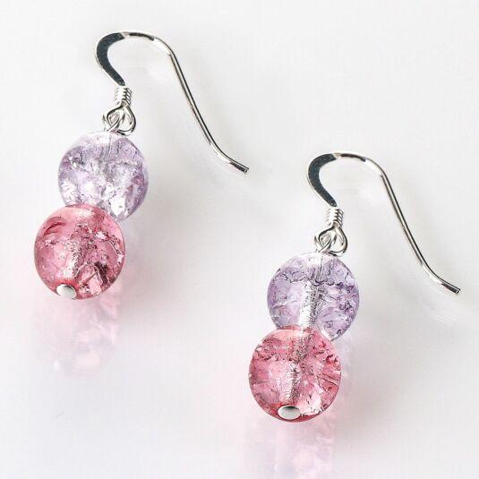 Purple/Pink Crackle Globes Earrings
