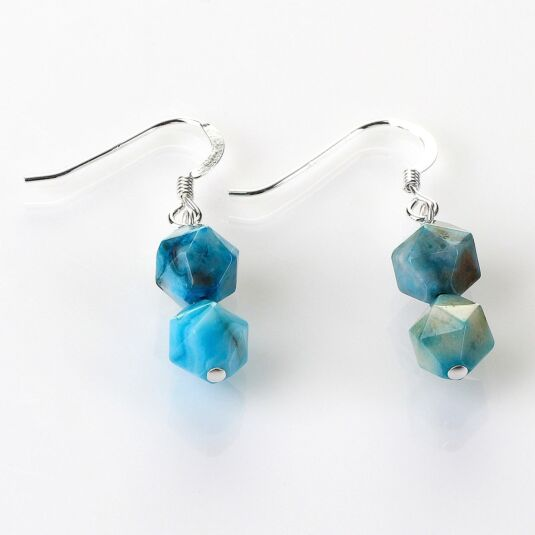 Azure Faceted Agate Earrings