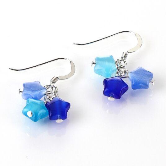 Blue Cats Eye Stars Earrings