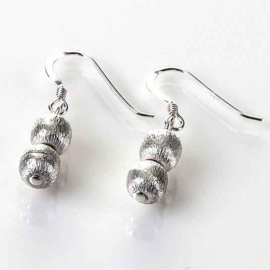 Brushed Silver Spheres Earrings