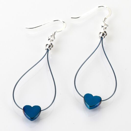 Royal Blue Haematite Heart Earrings