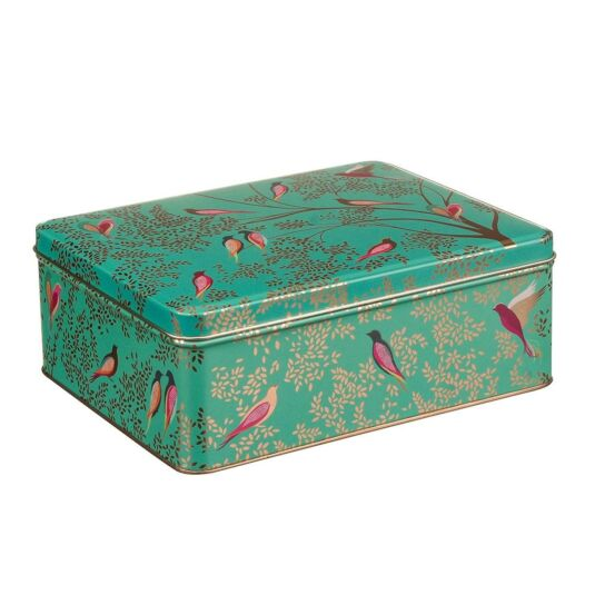 Deep Rectangular Green Birds Tin