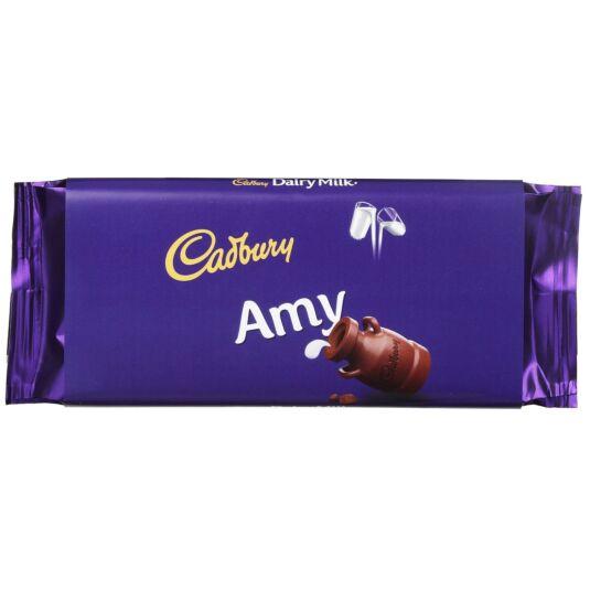'Amy' 110g Dairy Milk Chocolate Bar