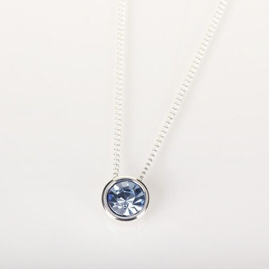 Cubic Silver Plated Blue Crystal Necklace