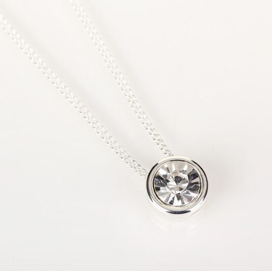 Cubic Silver Plated Clear Crystal Necklace