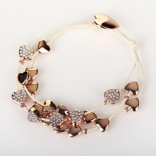 Rose Gold Multi Hearts Leather Bracelet