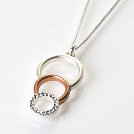 Silver and Rose Gold Plated Triple Circle Necklace