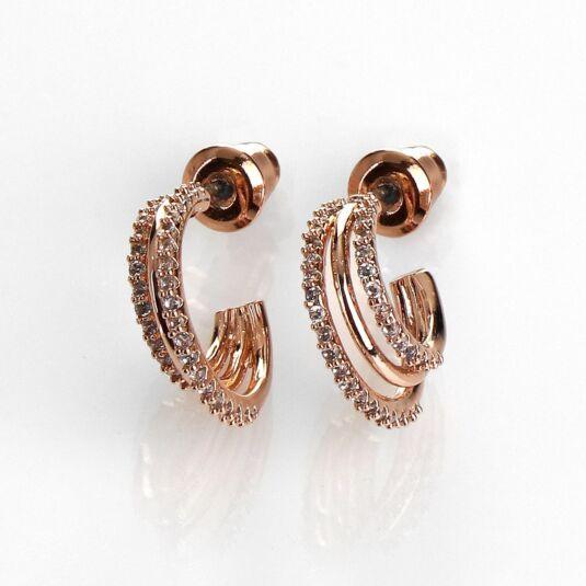 Triple Loop Rose Gold Plated Earrings