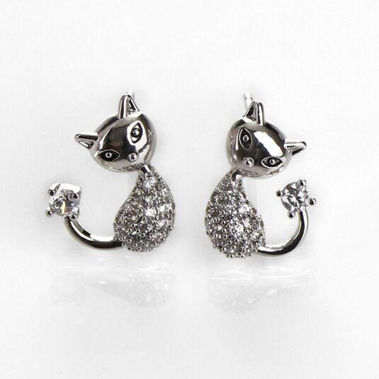 Pavé Cat White Gold Plated Earrings