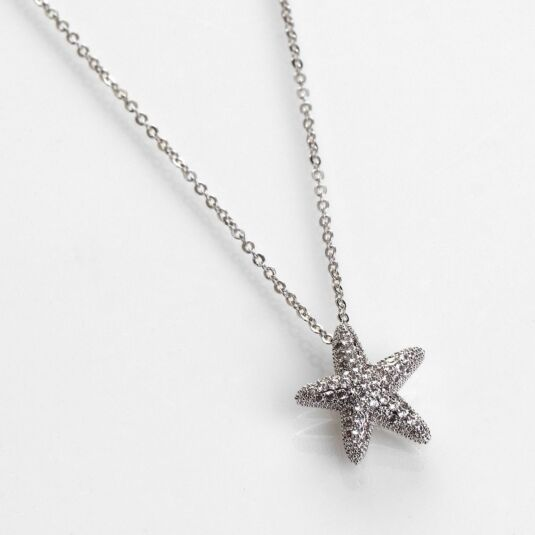 Seashore White Gold Plated Starfish Necklace