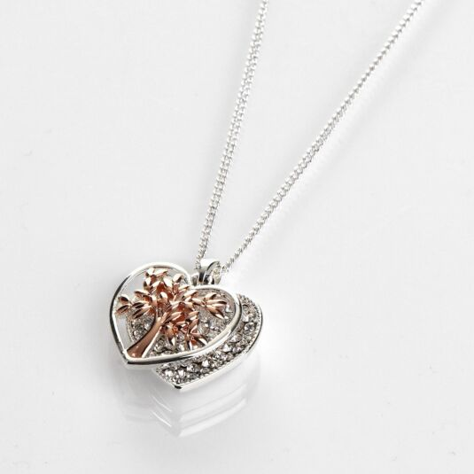 Rose Gold Tree of Life Two Tone Sparkle Necklace