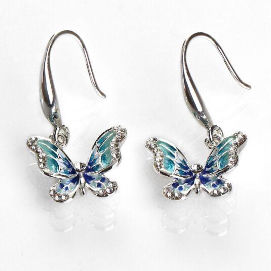 Hand Painted Elegant Blue Butterfly Earrings