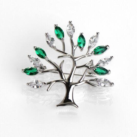 Green Tree of Life Silver Brooch