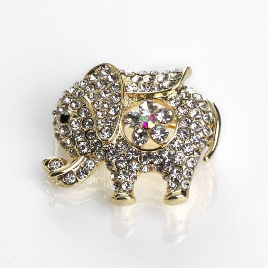 Gold Sparkle Elephant Brooch