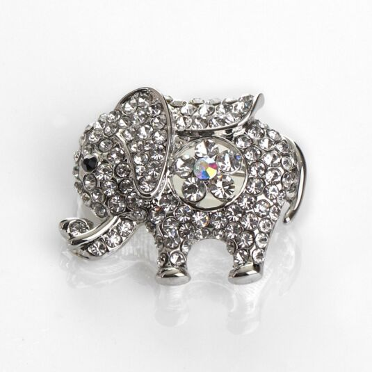 Silver Sparkle Elephant Brooch