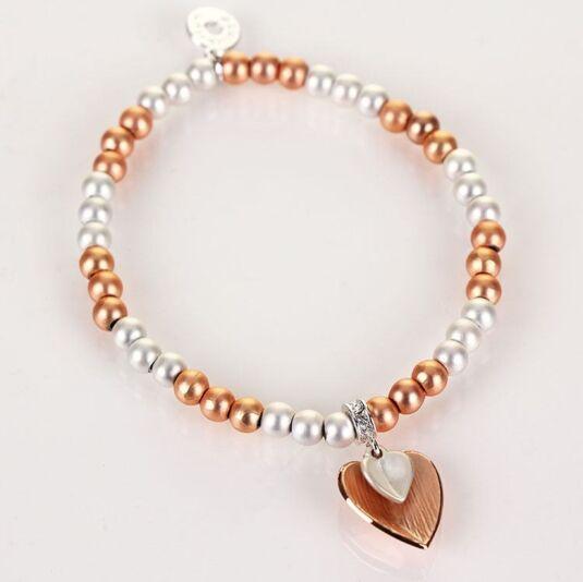 Rose Gold Plated Beaded Heart Bracelet